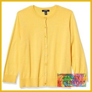 Chaps 3/4-Sleeve Cardigan Sweater 🍋